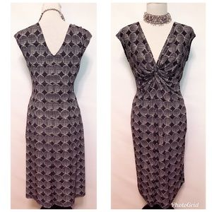 Maggie London Twist Front Black and White Dress 10